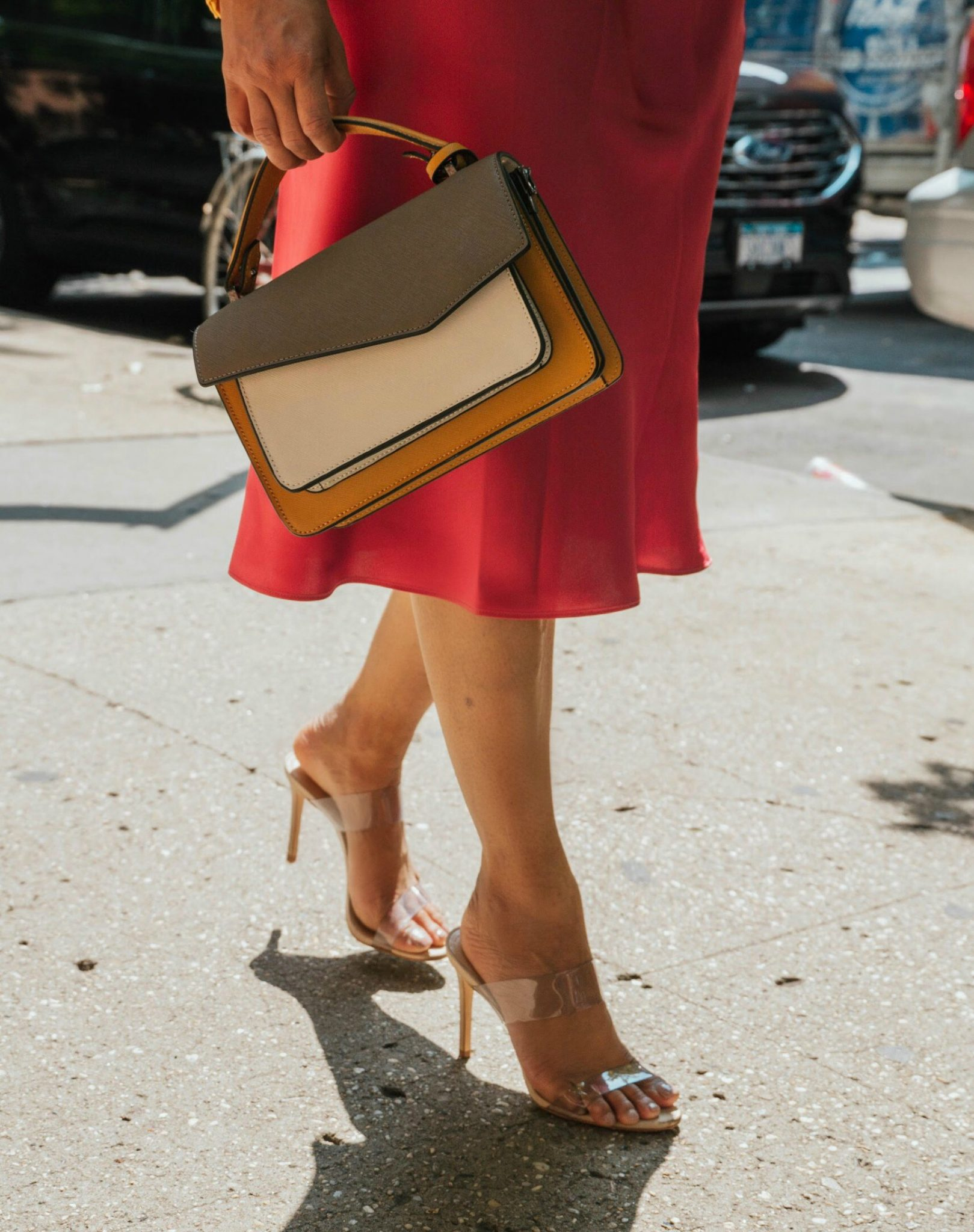 Wearing Schutz Ariella Clear Strap High-Heel Slide Sandals, Botkier Cobble Hill Color-Block Crossbody
