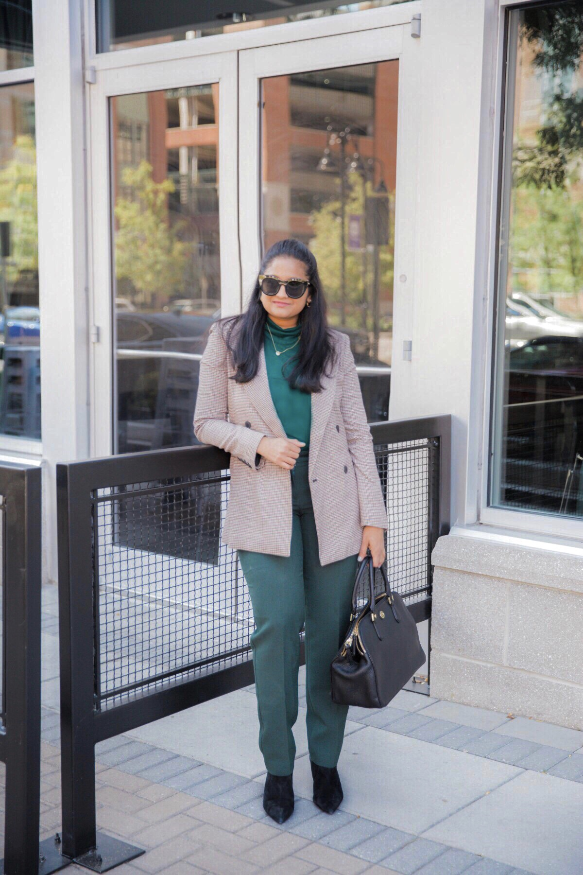 10 Tips on How to Increase your Self Respect featured by top US life and style blog, Dreaming Loud: image of a woman wearing chealse28 Double Breasted Plaid Blazer, talbots Talbots Hampshire Ankle Pants, J.crew tissue turtleneck, Banan republic Skinny-Heel Ankle Boots1