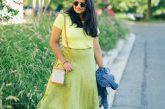 wearing Mango Polka dots satin midi skirt , B.P. Tee, Paravel Capsule bag, light blue heels