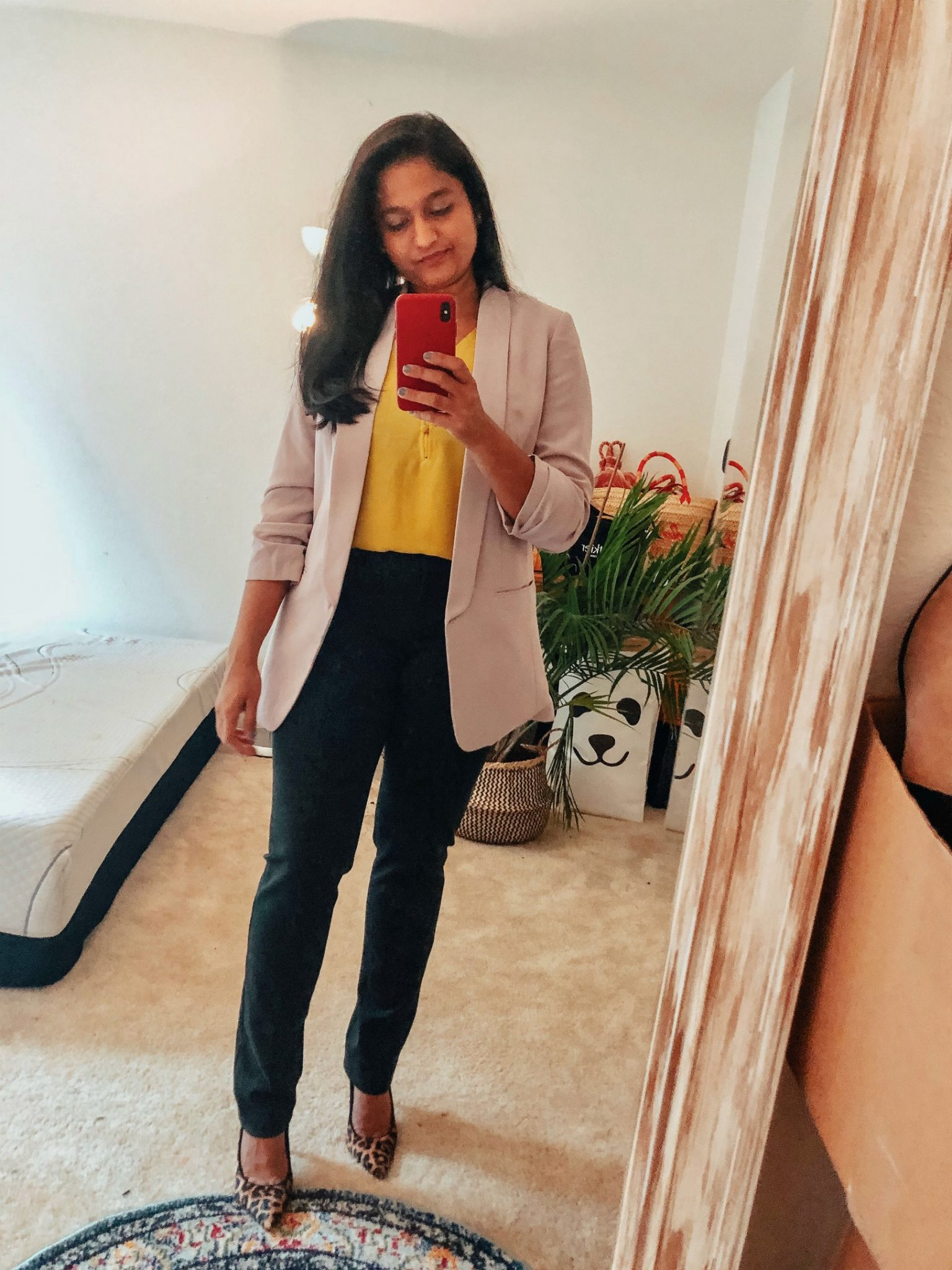 4 Ways to Wear a Light Pink Blazer to the Office featured by top US modest fashion blog, Dreaming Loud: image of a woman wearing vince camuto Ponte Ankle Pants, express ruched sleeve boyfriend blazer in petal pink, leopard print pumps, loft yellow blouse