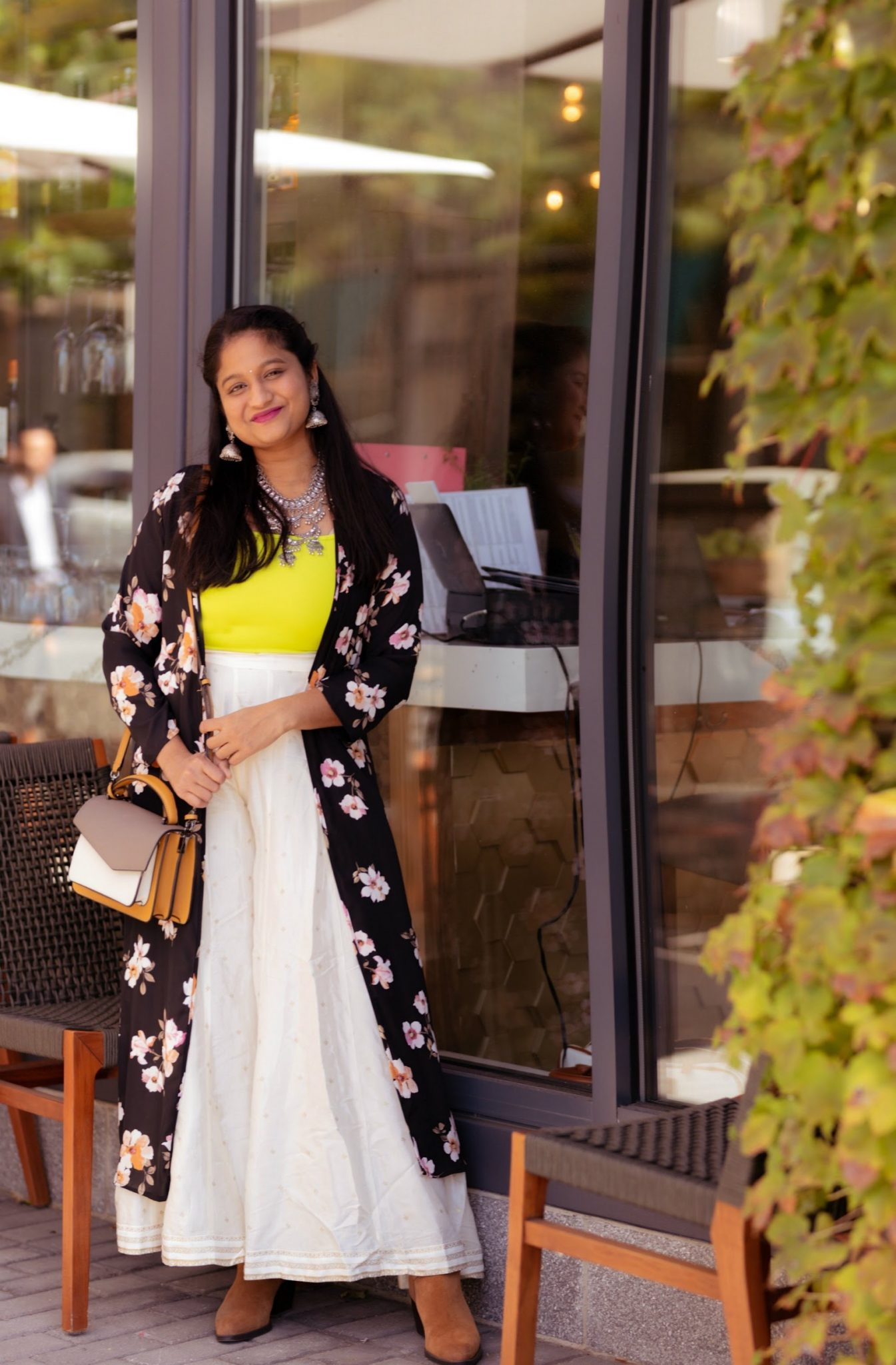 5 Cute Diwali Outfits to Wear for your Diwali Party, Diwali look book featured by top US modest fashion blog, Dreaming Loud: Neon crop top, silver Afghani statement necklace,off white palazzo pants,floral kimono, Naturalizer Fenya Booties 2