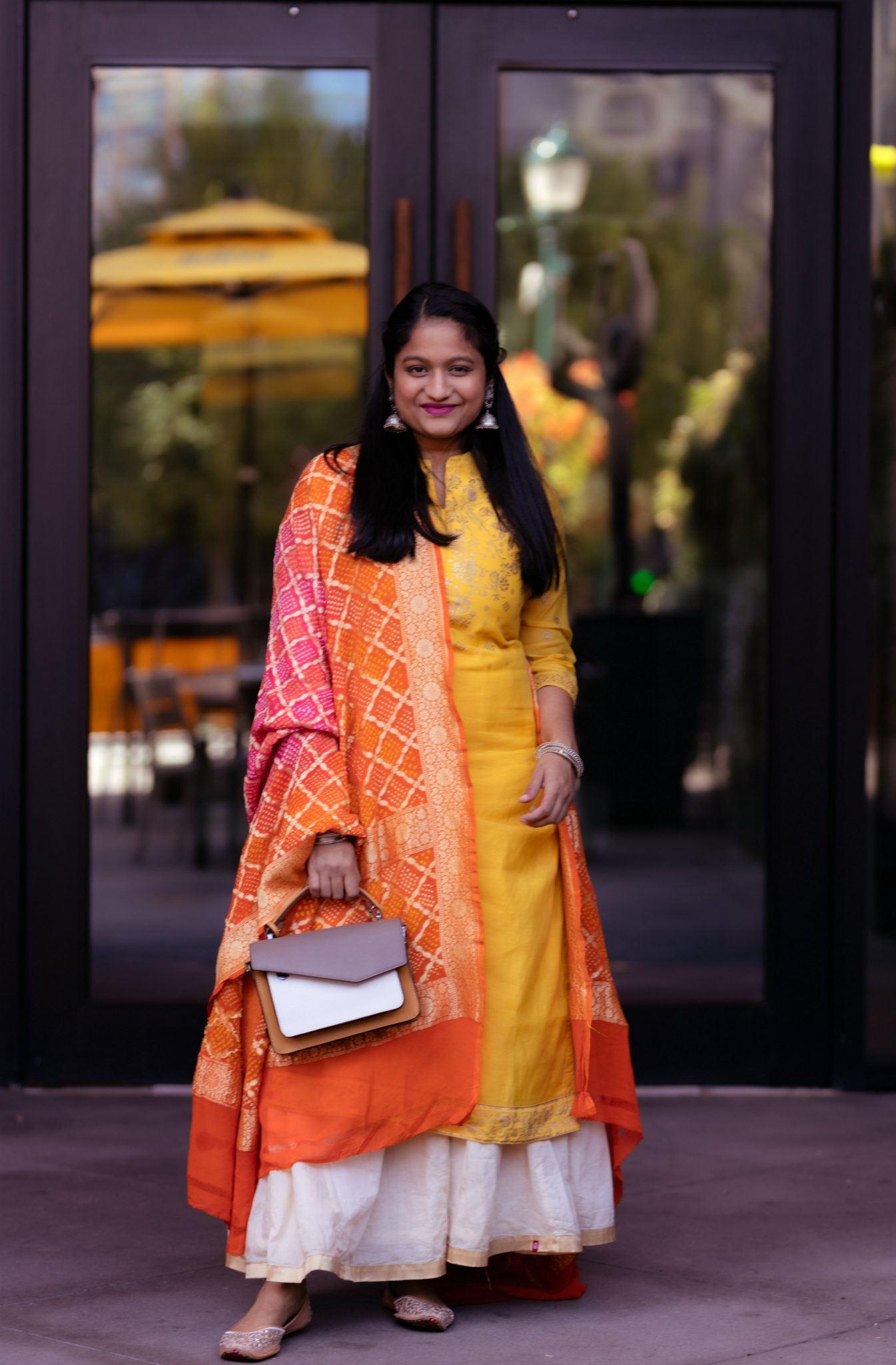 5 Cute Diwali Outfits to Wear for your Diwali Party, Diwali look book featured by top US modest fashion blog, Dreaming Loud: yellow kurtha, beige gold skirt,Bandhani dupatta, Botkier Cobble Hill Color-Block Crossbody, silver jhumkas 3