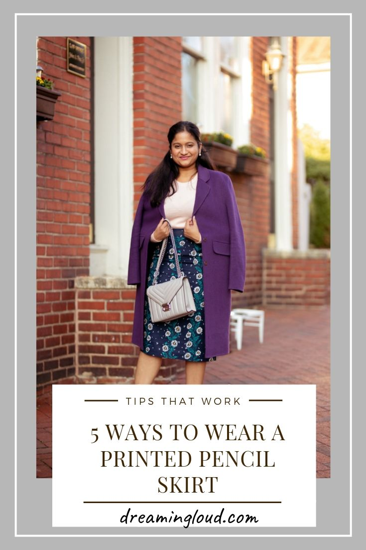 How to wear a printed pencil skirt in the Fall, styling tips featured by top US modest fashion blog, Dreaming Loud
