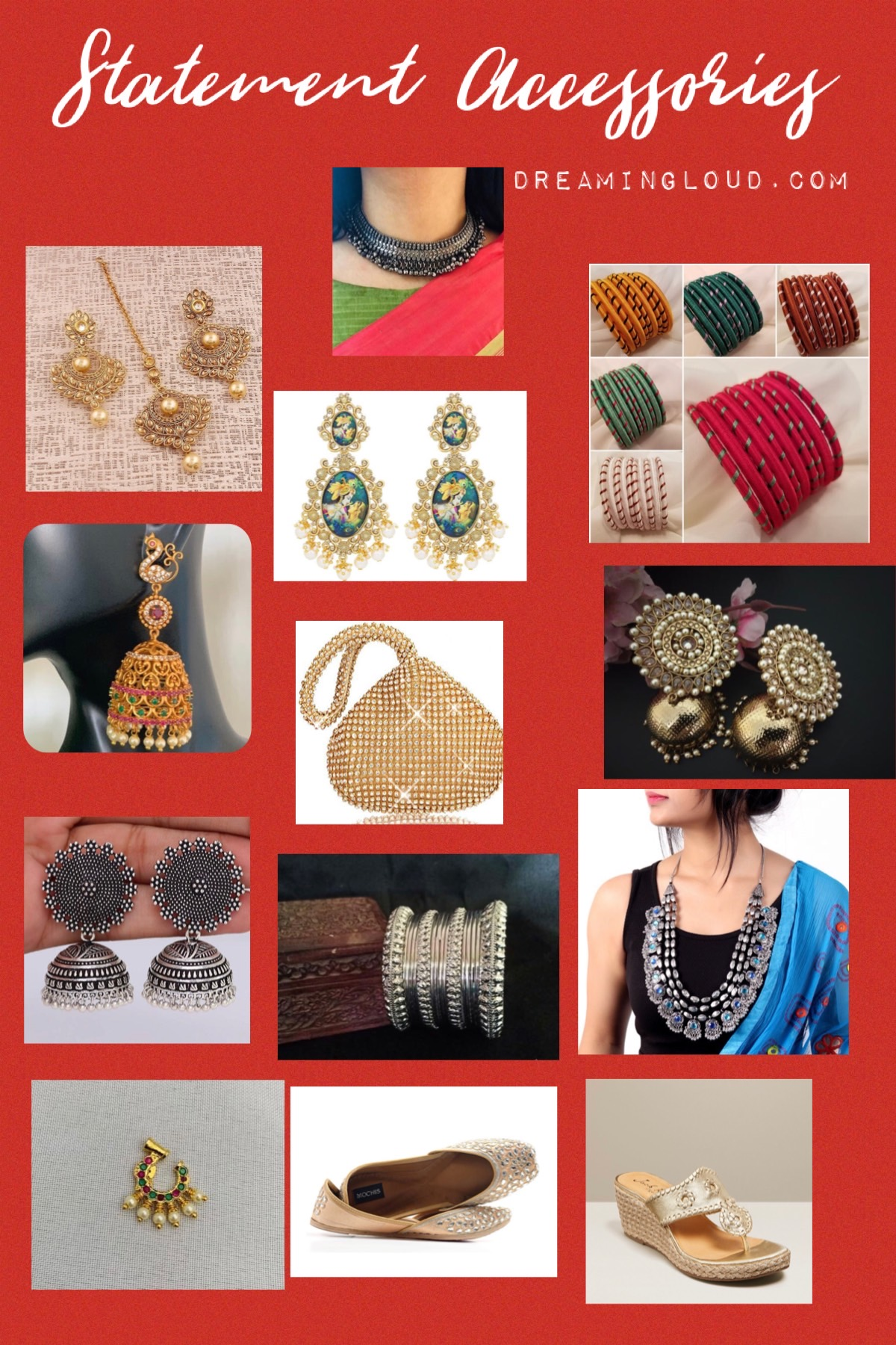 5 Cute Diwali Outfits to Wear for your Diwali Party, Diwali look book featured by top US modest fashion blog, Dreaming Loud., Diwali Statement Acessories, favorite Indian jewelry Etsy finds