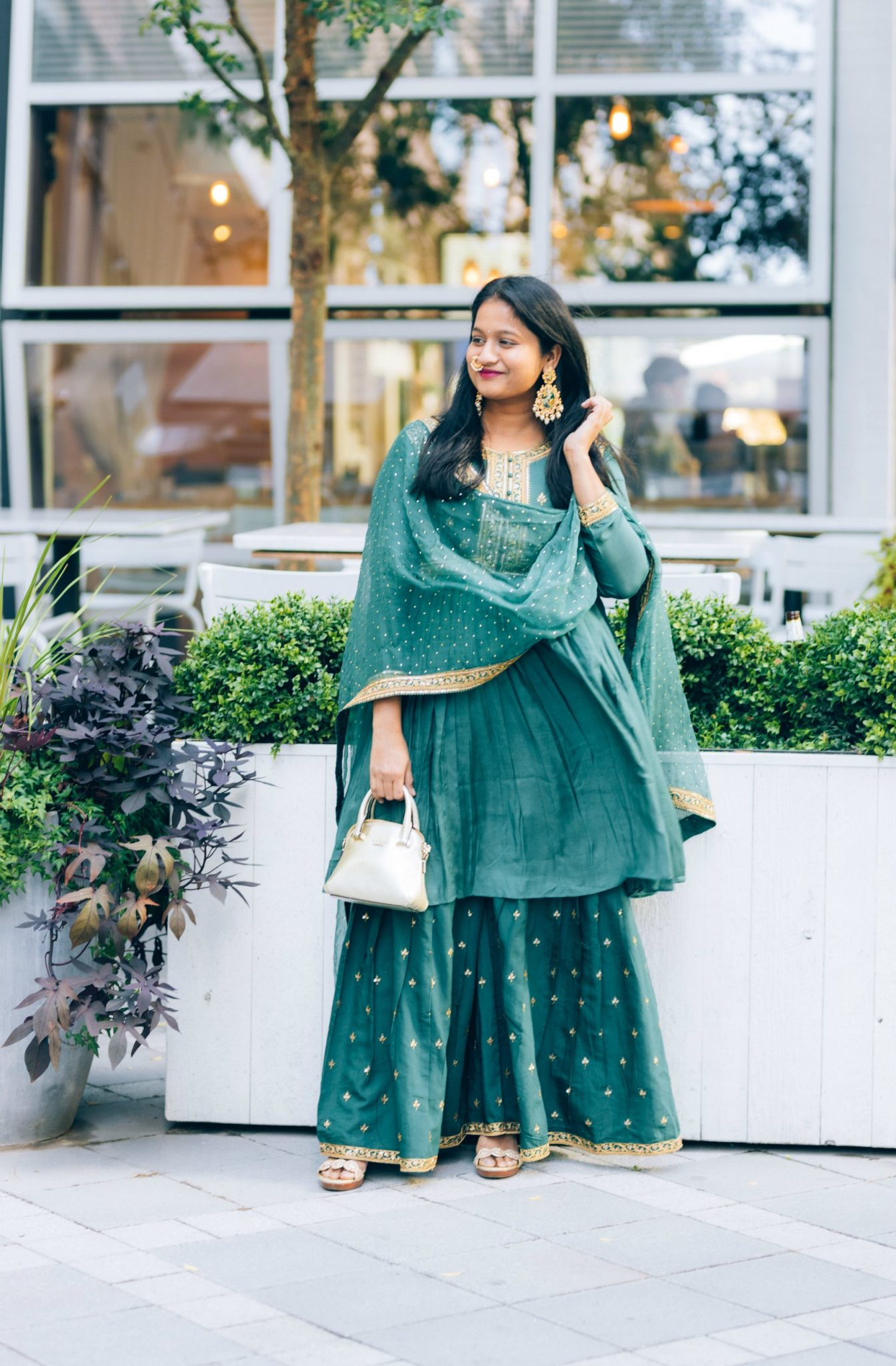 5 Cute Diwali Outfits to Wear for your Diwali Party, Diwali look book featured by top US modest fashion blog, Dreaming Loud: green sharara suit