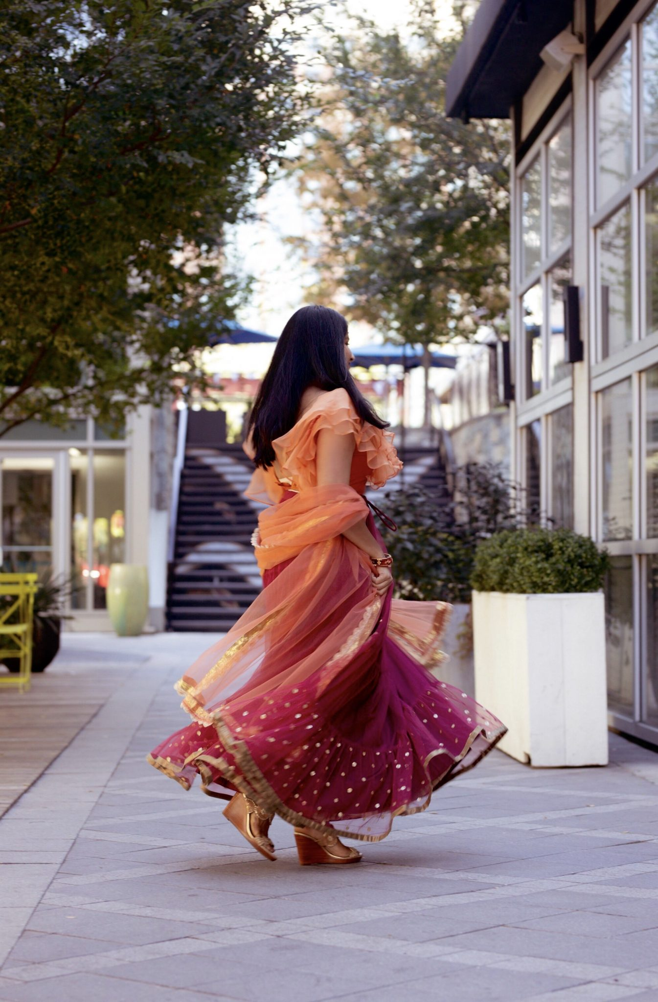 5 Cute Diwali Outfits to Wear for your Diwali Party, Diwali look book featured by top US modest fashion blog, Dreaming Loud. | What to wear for a diwali party, Leasing look review 1, burgundy tulle lehenga set ruffled blouse