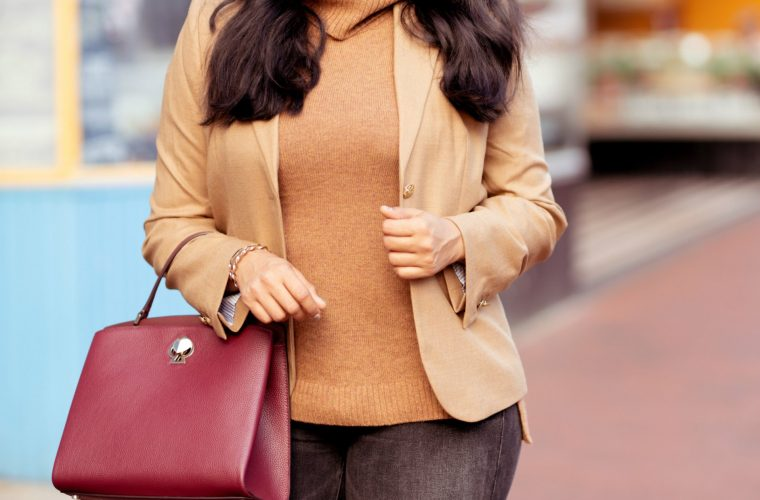 Camel blazer styled for Fall by top US modest fashion blog, Dreaming Loud: image of a woman wearing a J Crew camel blazer, JCrew Factory sweater tank, Mother high rise ankle jeans, Sam Edelman pumps and a Kate Spade satchel bag.
