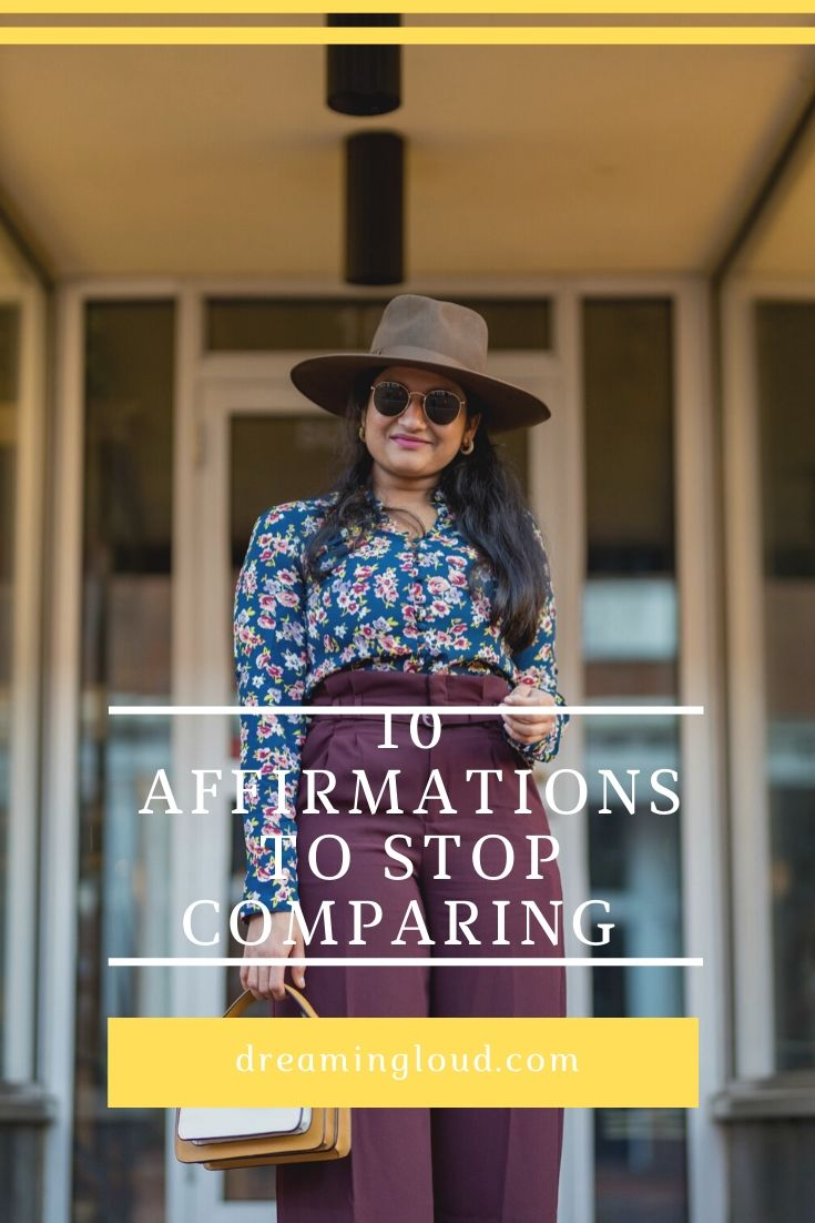 Best Positive Affirmations To Stop Comparing Yourself featured by top US life and style blog, Dreaming Loud: image of a woman wearing Express High Waisted Belted Wide Leg Pant,Marc Fisher Ulani LTD Boots, Botkier Cobble hill color block crossbody, Lack of Color Rancher Fedora hat