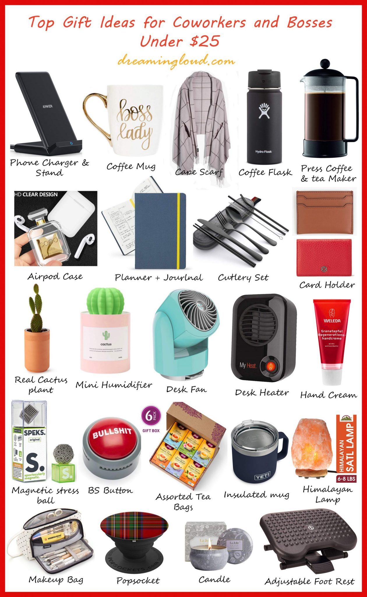 Holiday Gift Guide: Top 25 Gift Ideas for Coworkers and Bosses Under $25 featured by top US life and style blog, Dreaming Loud