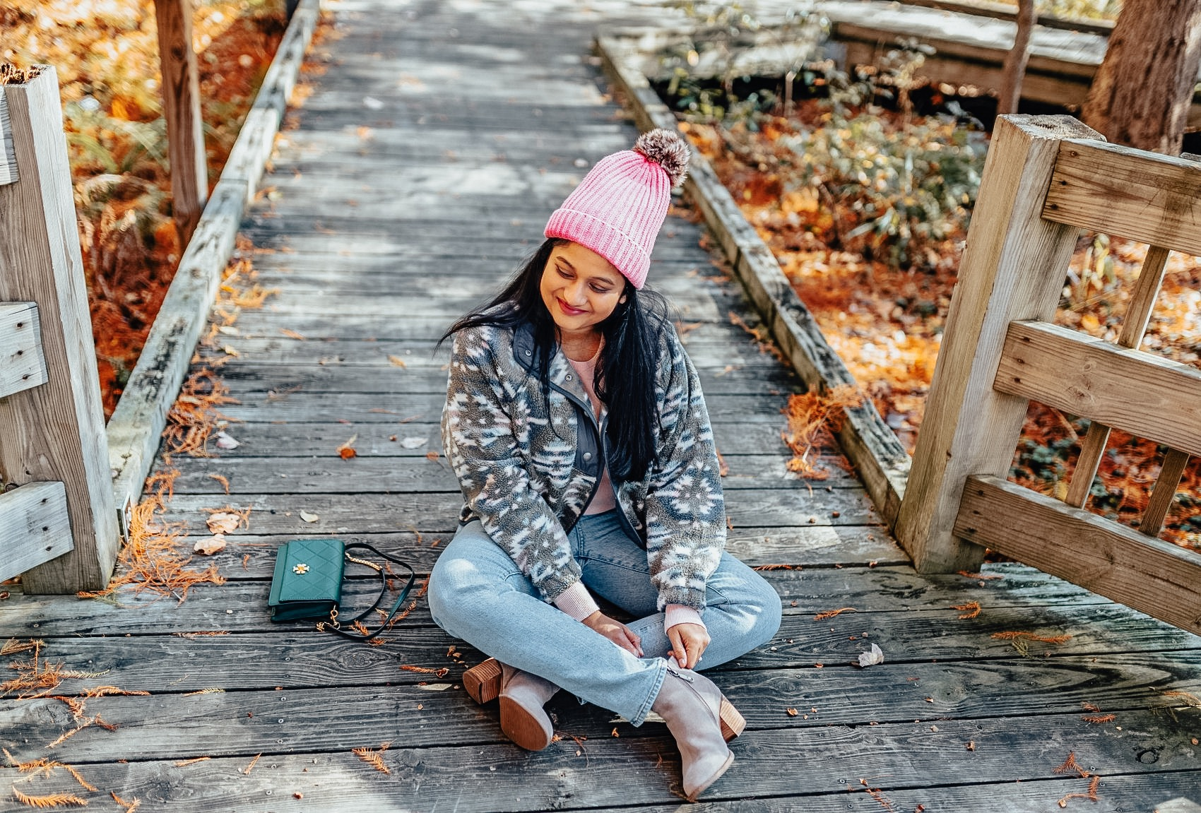 Printed Fleece Jacket styled for Fall by top US modest fashion blog, Dreaming Loud: image of a woman wearing American Eagle Printed Fleece Jacket,blondo Nina Waterproof Suede Boot, Neon pink beanie, everlane Cashmere Crew