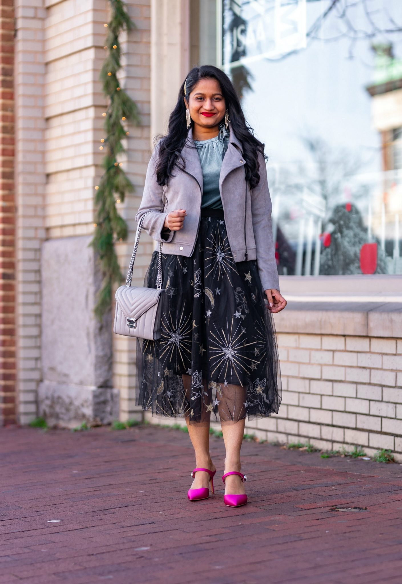 Affordable New Years Eve Outfits to Ring In the New Year featured by top US modest blog, Dreaming Loud: Alcea Rosea Black Tulle tutu Skirt, Velvet Camisole, Banana Republic Satin Pink Heels, Allegra K Fashion Faux Suede Jacket