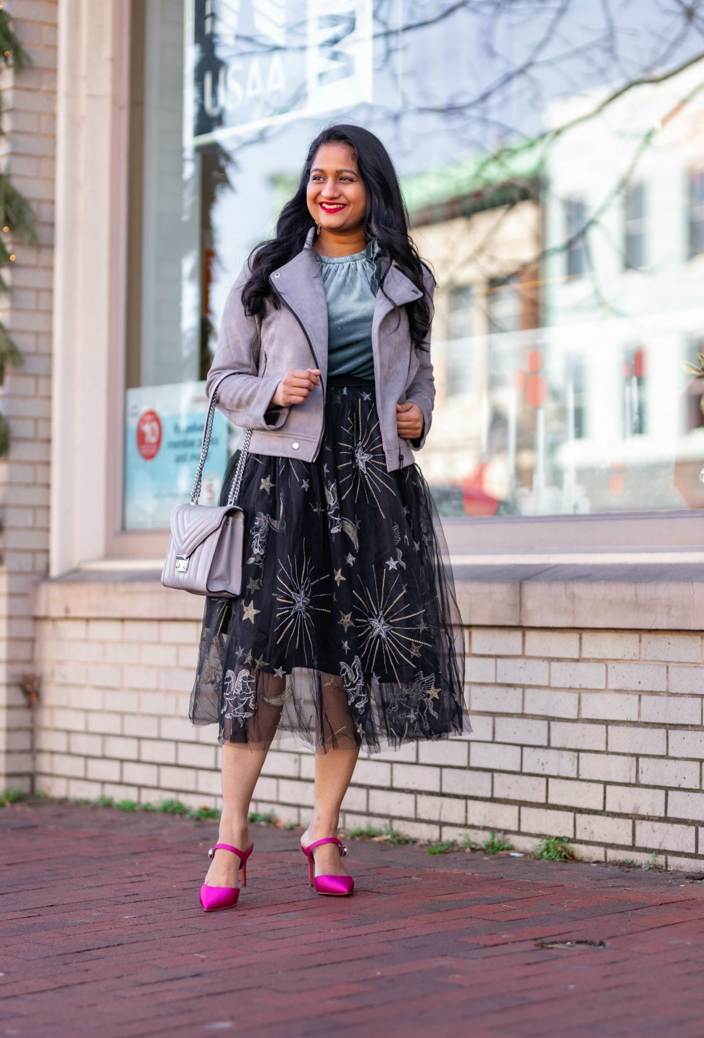 Affordable New Years Eve Outfits to Ring In the New Year featured by top US modest blog, Dreaming Loud: Alcea Rosea Black Tulle tutu Skirt, Velvet Camisole, Banana Republic Satin Pink Heels, Allegra K Fashion Faux Suede Jacket1