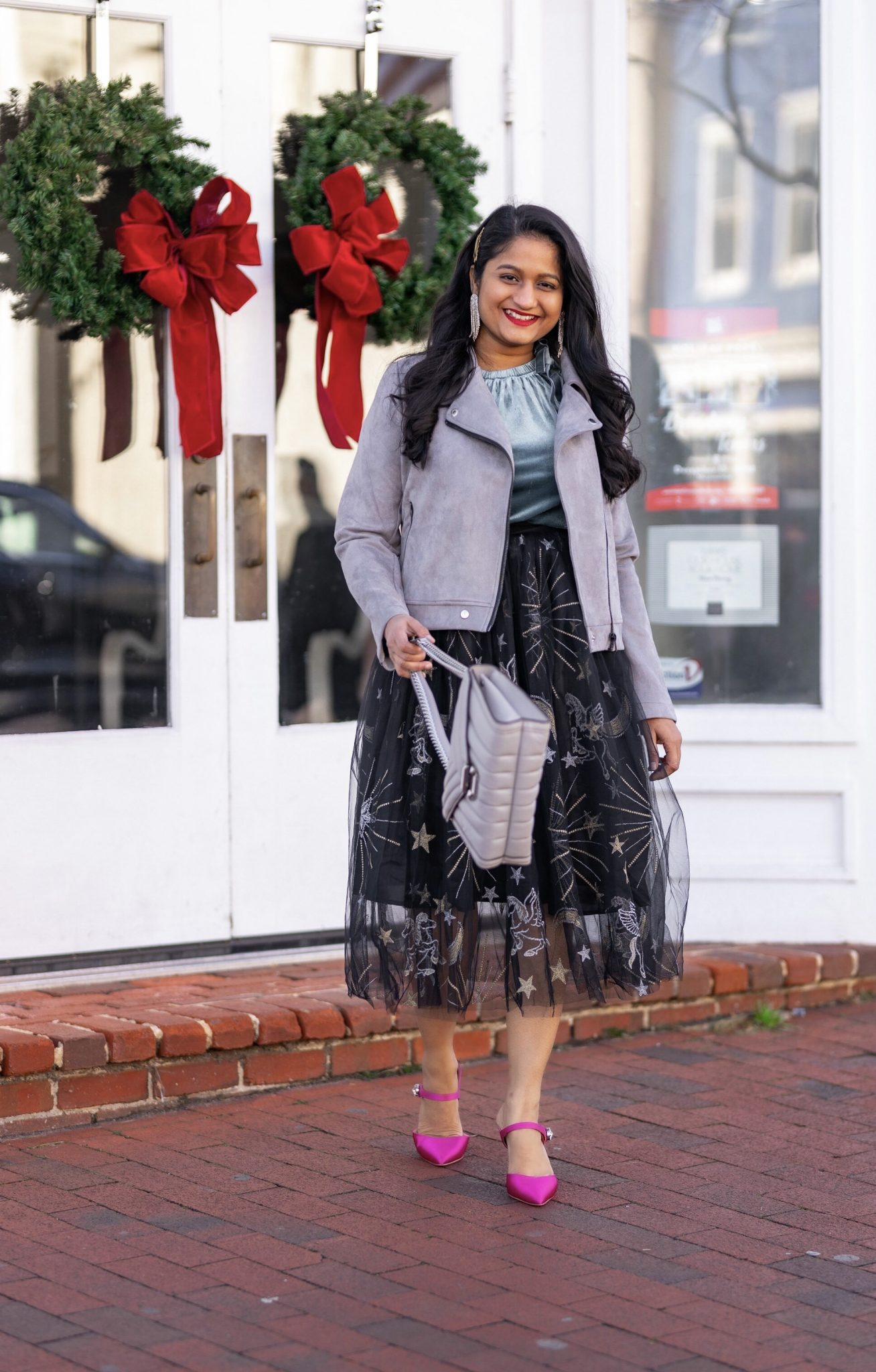 Affordable New Years Eve Outfits to Ring In the New Year featured by top US modest blog, Dreaming Loud: Alcea Rosea Black Tulle tutu Skirt, Velvet Camisole, Banana Republic Satin Pink Heels, Allegra K Fashion Faux Suede Jacket3