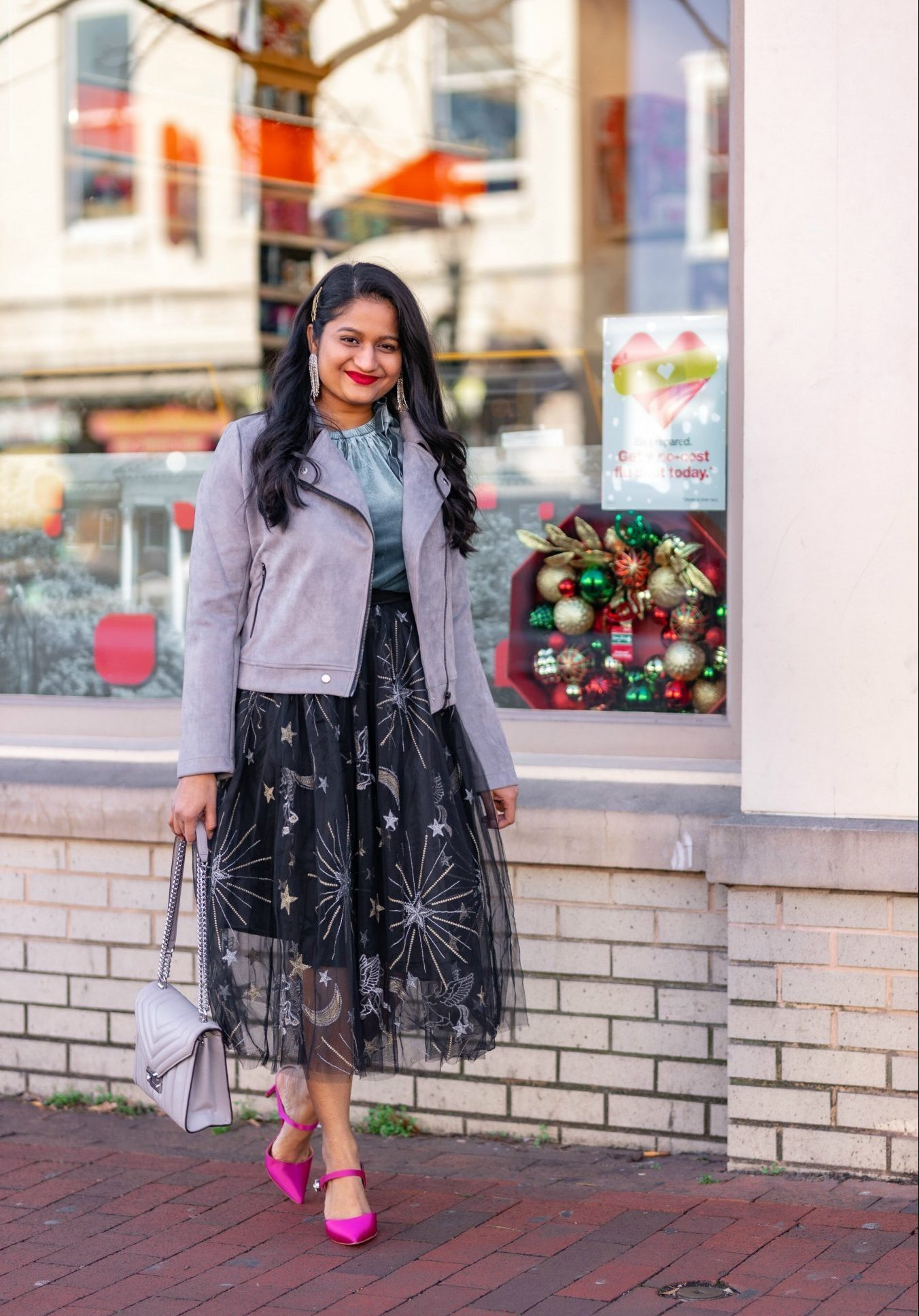 Affordable New Years Eve Outfits to Ring In the New Year featured by top US modest blog, Dreaming Loud: Alcea Rosea Black Tulle tutu Skirt, Velvet Camisole, Banana Republic Satin Pink Heels, Allegra K Fashion Faux Suede Jacket5