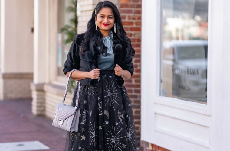 Affordable New Years Eve Outfits to Ring In the New Year featured by top US modest blog, Dreaming Loud: Alcea Rosea Black Tulle tutu Skirt, Velvet Camisole, Banana Republic Satin Pink Heels, WHBM Faux Bolero Jacket