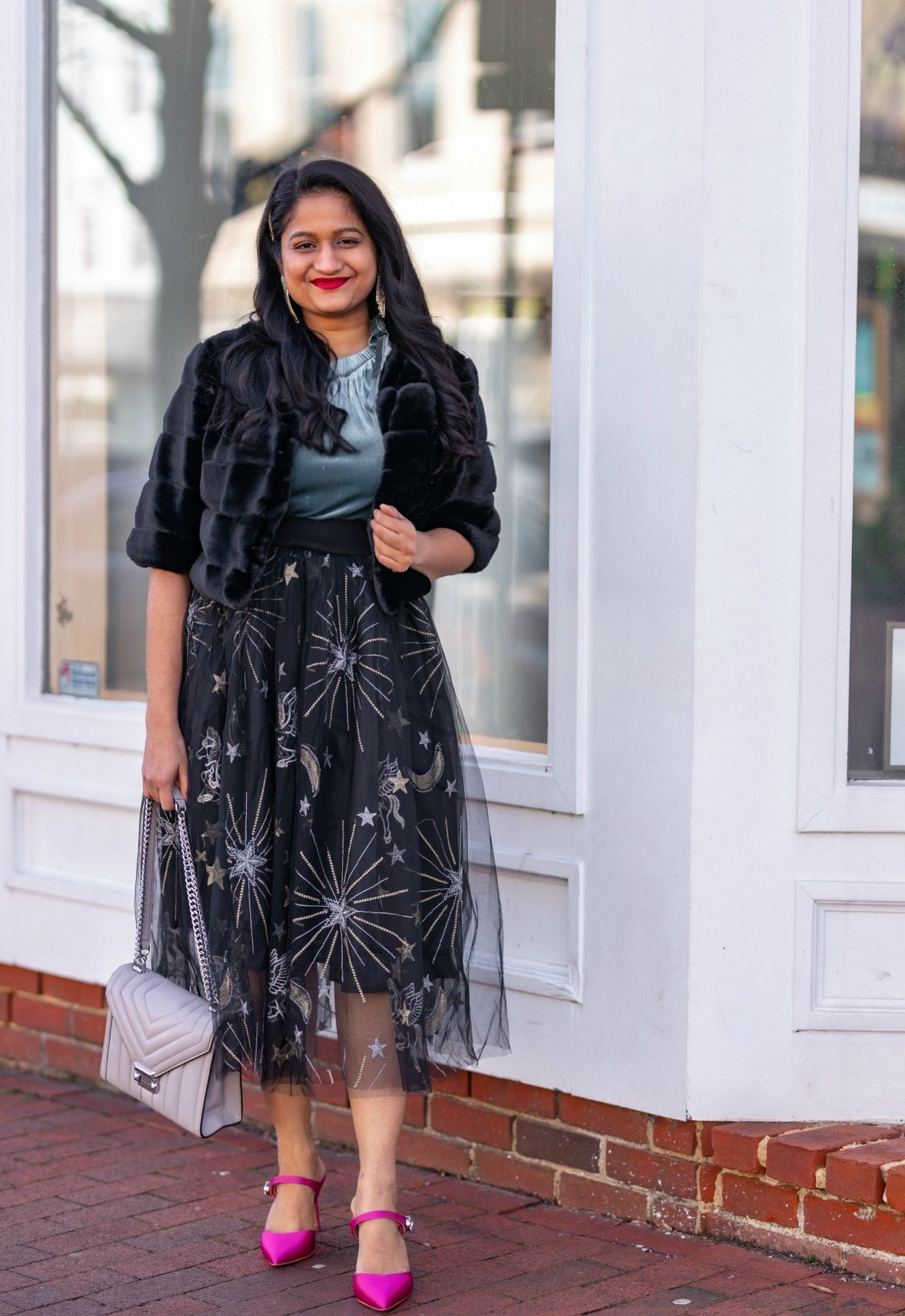 Affordable New Years Eve Outfits to Ring In the New Year featured by top US modest blog, Dreaming Loud: Alcea Rosea Black Tulle tutu Skirt, Velvet Camisole, Banana Republic Satin Pink Heels, WHBM Faux Bolero Jacket1