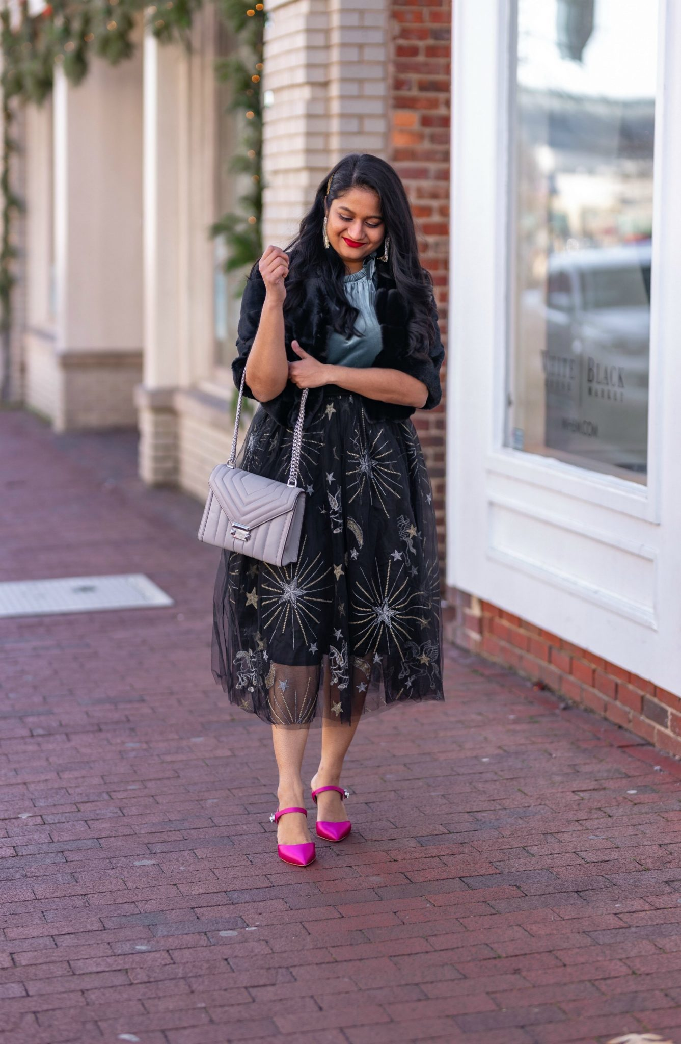 Affordable New Years Eve Outfits to Ring In the New Year featured by top US modest blog, Dreaming Loud: Alcea Rosea Black Tulle tutu Skirt, Velvet Camisole, Banana Republic Satin Pink Heels, WHBM Faux Bolero Jacket2
