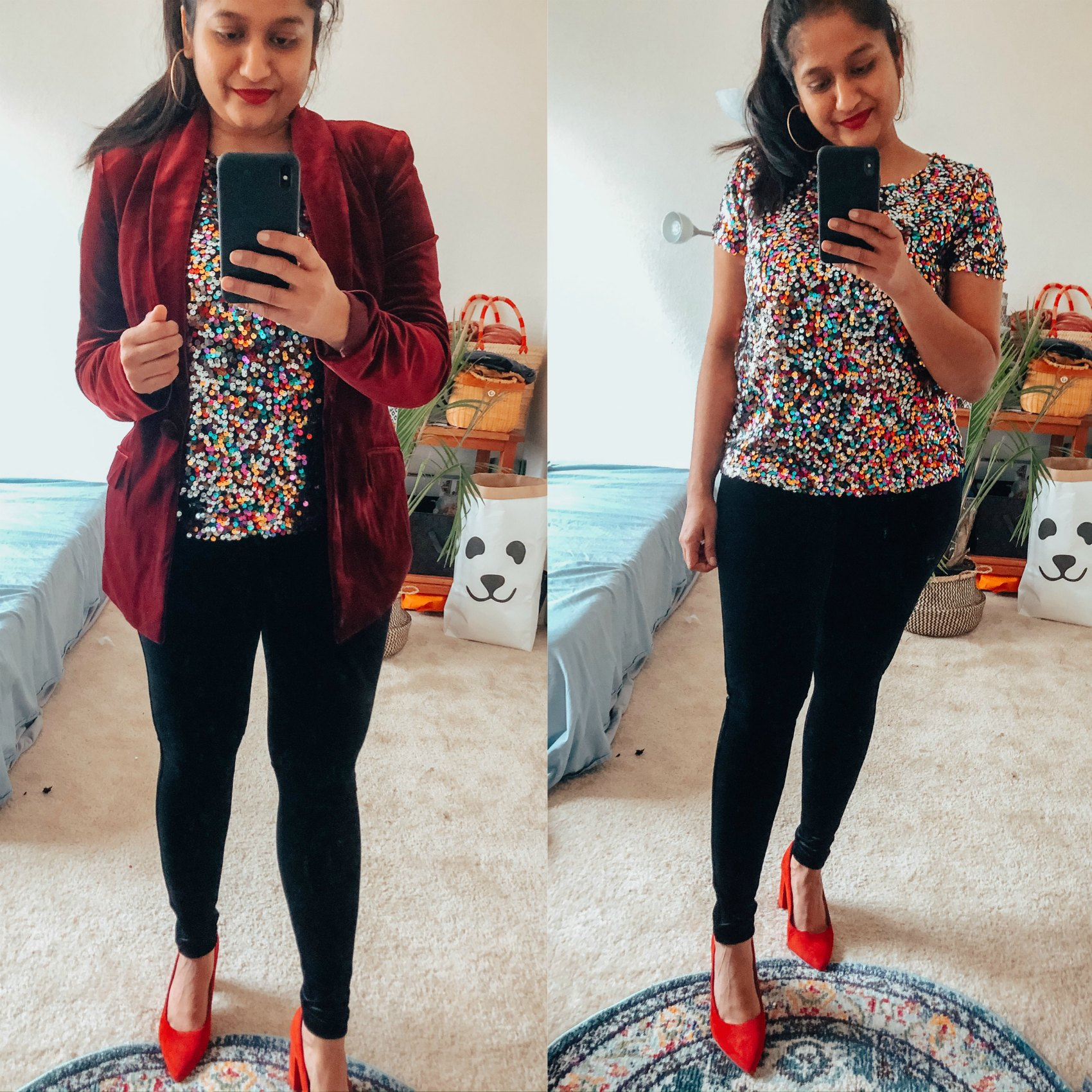 NYE outfit, wearing INC Sequined T-Shirt,Calvin Klein Velvet Leggings,INC Velvet Blazer