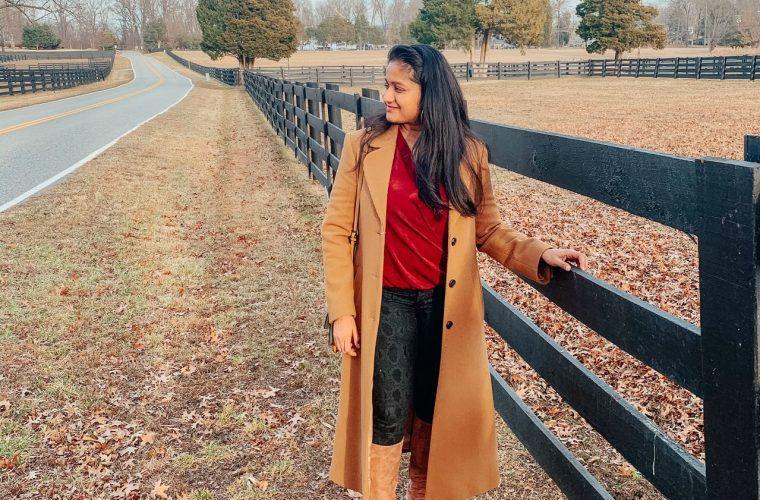 How to Choose your Word of the Year for 2020 featured by top US life and style blog, Dreaming Loud: image of a woman Wearing Joes Jeans High Rise Snake Print Skinny Jeans, Wrap Satin Blouse,Sam Edelman Francia Stiletto Knee High Boot, and other stories A-Line Wool Blend Belted Coat
