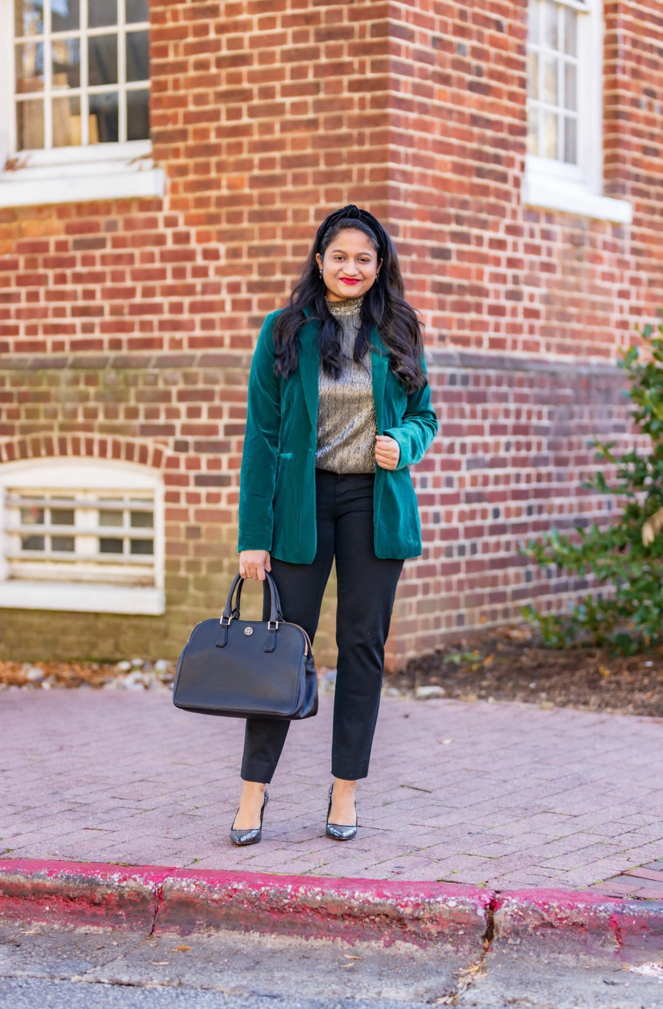5 Cute Christmas Party Outfits by popular Maryland modest fashion blog, Dreaming Loud: image of a woman wearing INC International Concepts Velvet Blazer,Banana Republic. blaxk Trousers, metallic gold top, tory Burch robinson Tote.