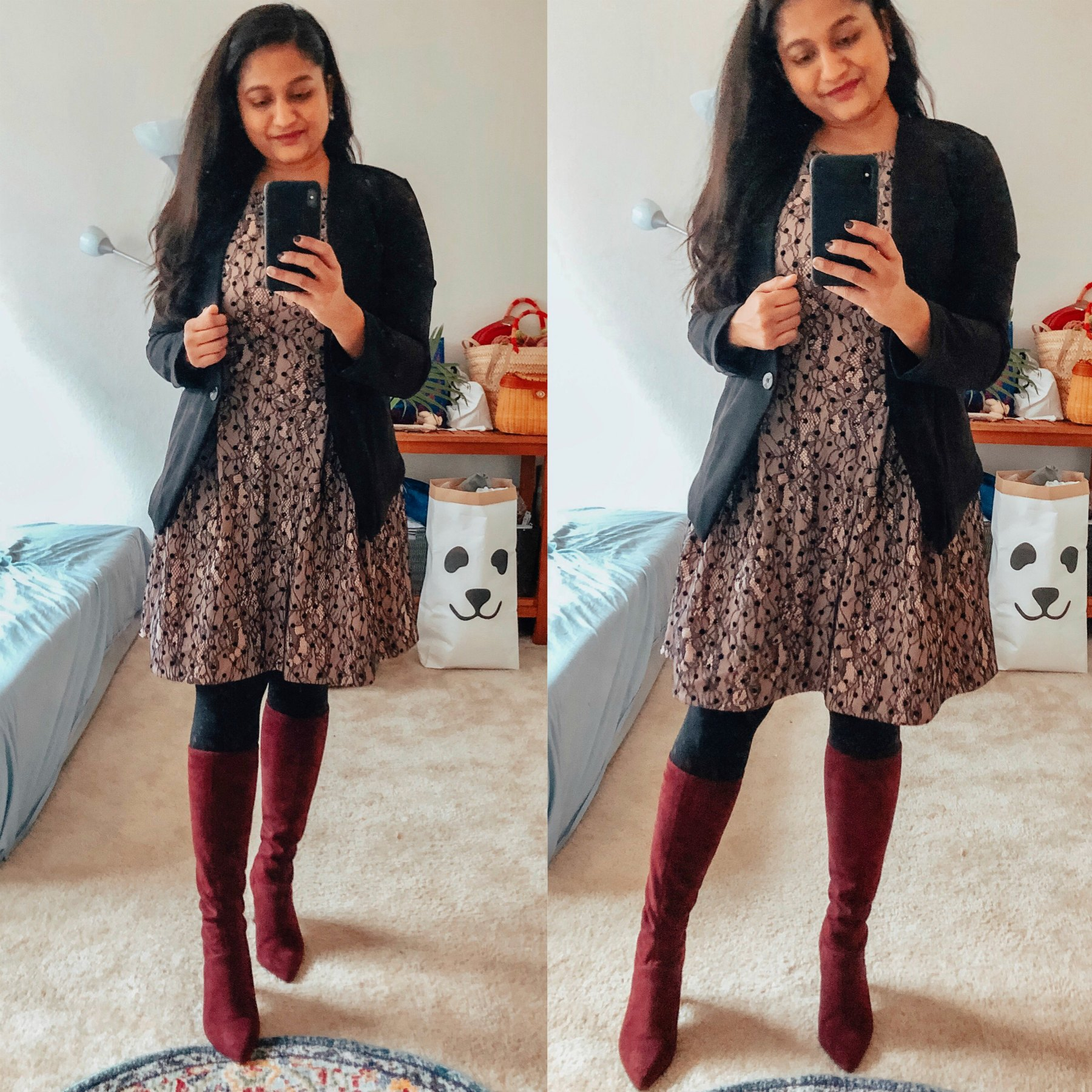 15 Cute Christmas Party Dresses Under $50 featured by top US modest fashion blog, Dreaming Loud: image of a woman wearing JW Jason Wu Sleeveless Lace Dress for Kohl's, ofmercer LENOX BLAZER V2, Boden knee high boots