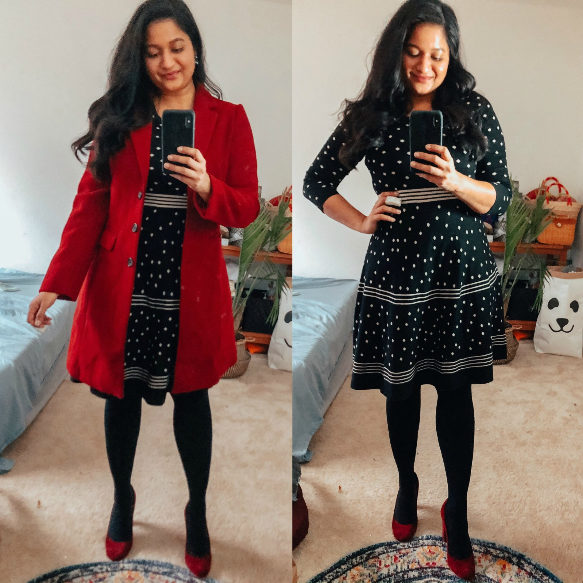 15 Cute Christmas Party Dresses Under $50 featured by top US modest fashion blog, Dreaming Loud: image of a woman wearing Liz Claiborne 34 Sleeve Stripe Dot Sweater Dress, Allegra K Women's Notched Lapel Single Breasted coat, Franci sarto red suede pumps