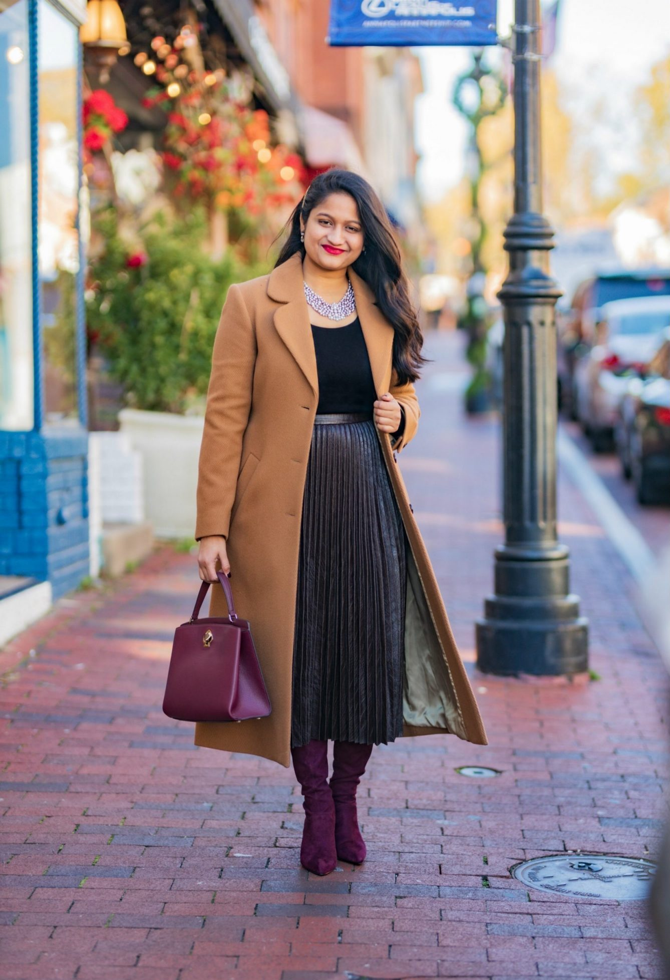 wearing and other stories A-Line Wool Blend Belted Coat, Madewell Puff-Sleeve Scoopneck Top,Atlantic-Pacific Pleated Croc Faux Leather Midi Skirt, burgundy knee high boots1