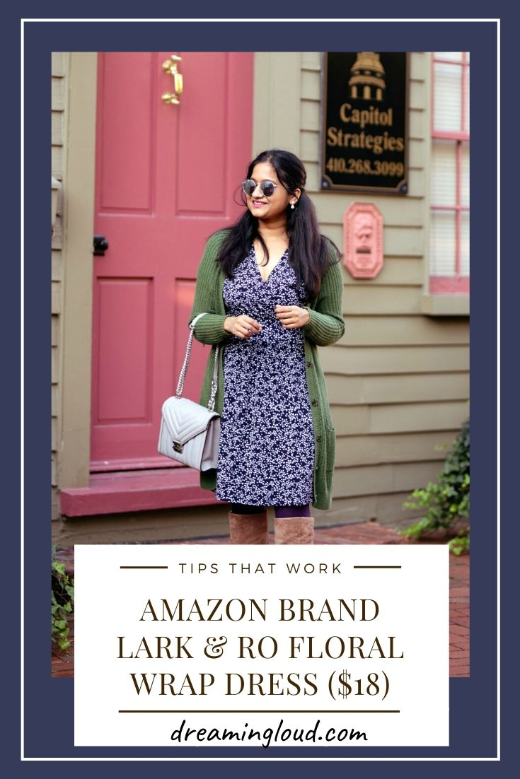 Lark and Ro Wrap Dress from Amazon style by top US modest fashion blog, Dreaming Loud