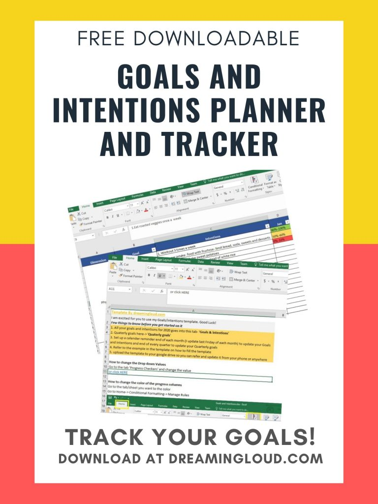 The Importance of Setting Intentions to Achieve your Goals and Resolutions, thoughts featured by top US lifestyle blog, Dreaming Loud: free goals tracker