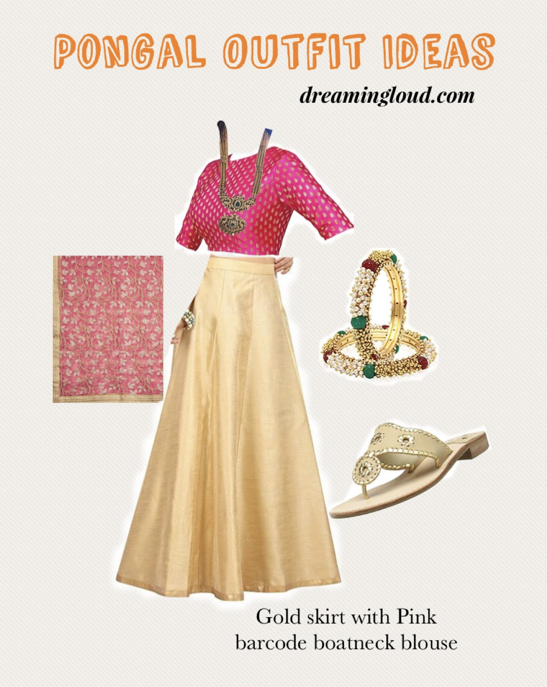 Pongal festival outfits or Makara Sankranthi featured by top US Indian fashion blog, Dreaming Loud: image of a Gold raw silk skirt with Pink barcode bloue and net dupatta