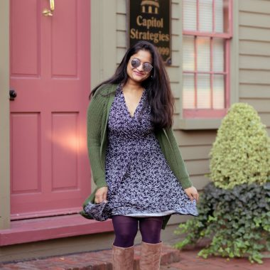 Lark and Ro Wrap Dress from Amazon style by top US modest fashion blog, Dreaming Loud: image of a woman wearing a Lark & Ro Fixed Wrap Waistband Dress, purple stockings, sam edelman Francia Stiletto Knee High Boot, green cardigan 1