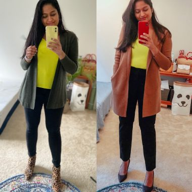 Neon Yellow Green Camisole styled 2 ways by top US modest fashion blog, Dreaming Loud.