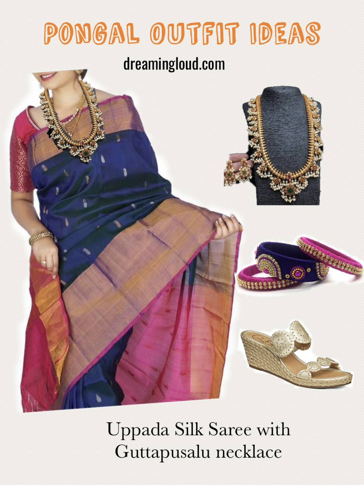 Pongal festival outfits or Makara Sankranthi featured by top US Indian fashion blog, Dreaming Loud: image of a woman wearing Uppada Pattu Blue and pink Sare with Guttapusalu Haram