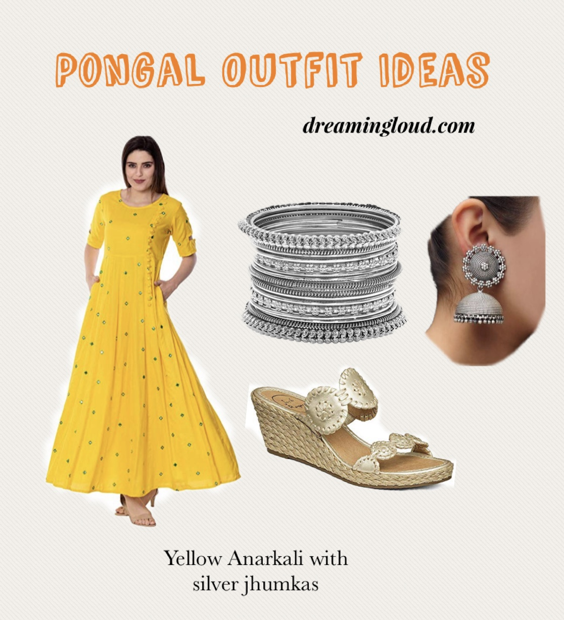 Pongal festival outfits or Makara Sankranthi featured by top US Indian fashion blog, Dreaming Loud: image of a woman Wearing Embroidered yellow Anrkali, Silver oxidised jhumaks, Silver bangle set1