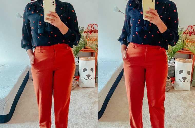 Blue Floral Blouse and Rust Pants Outfit featured by top US fashion blog, Dreaming Loud: image of a woman wearing Wearing Halogen Tie Waist Twill Pants in rust, Banana republic Tie-Neck blue floral top, Skinny-Heel Ankle burgundy Boots