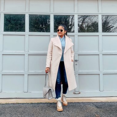 Savings Account 101, savings account tips featured by top US life and style blog, Dreaming Loud: image of a woman Wearing Mango Belted wool beige coat, ag farrah ankle jeans, everlane ReCashmere Turtleneck sweater, Jcrew Nubuck wedge boots