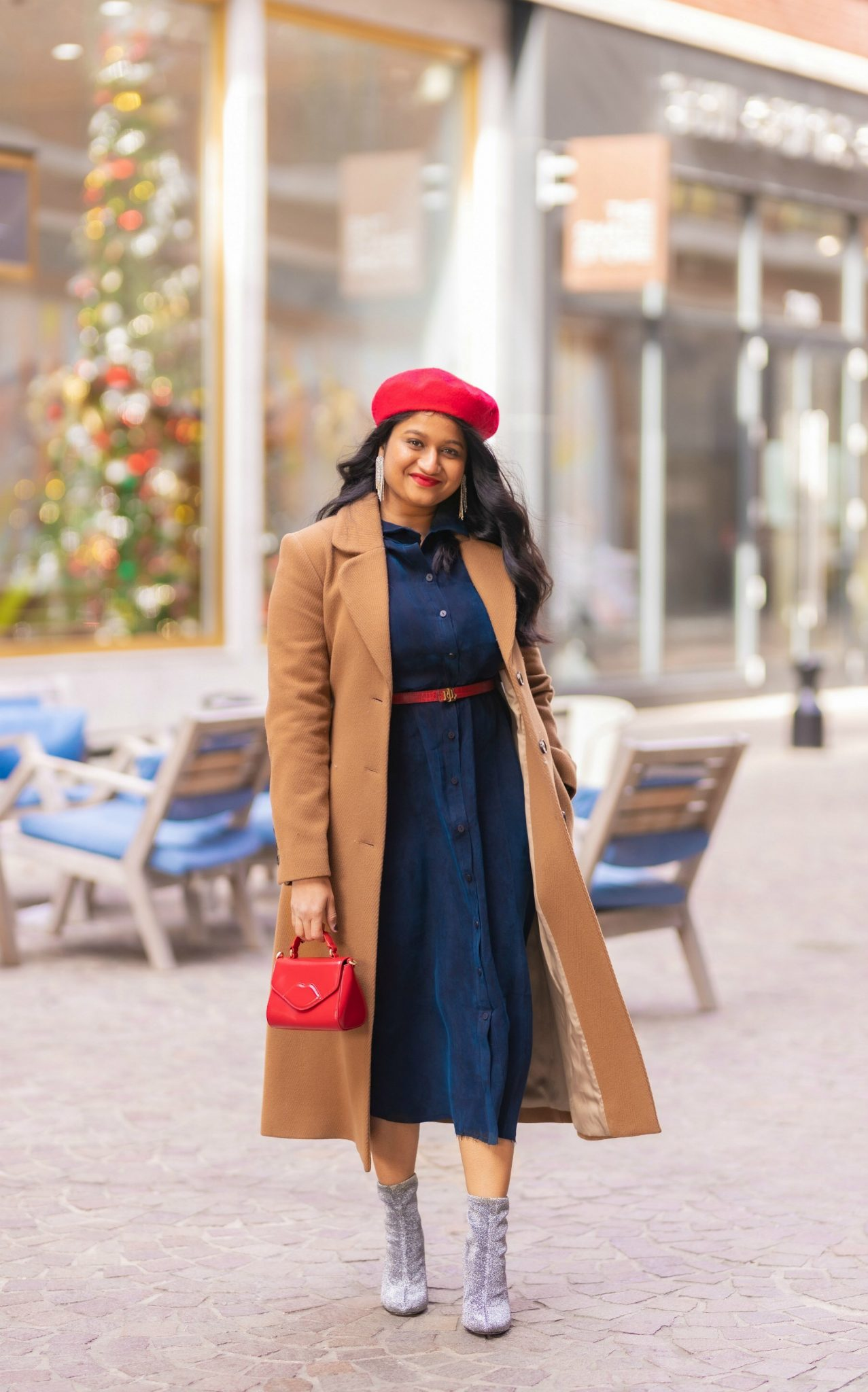 How to Style The Frock NYC Iconic Shirt Dress featured by top US modest fashion blog, Dreaming Loud: image of a woman wearing a shirtdress with a belt-Wearing and other stories A-LINE WOOL BLEND BELTED COAT, frock nyc iconic shirt dress, lulu guinness bag