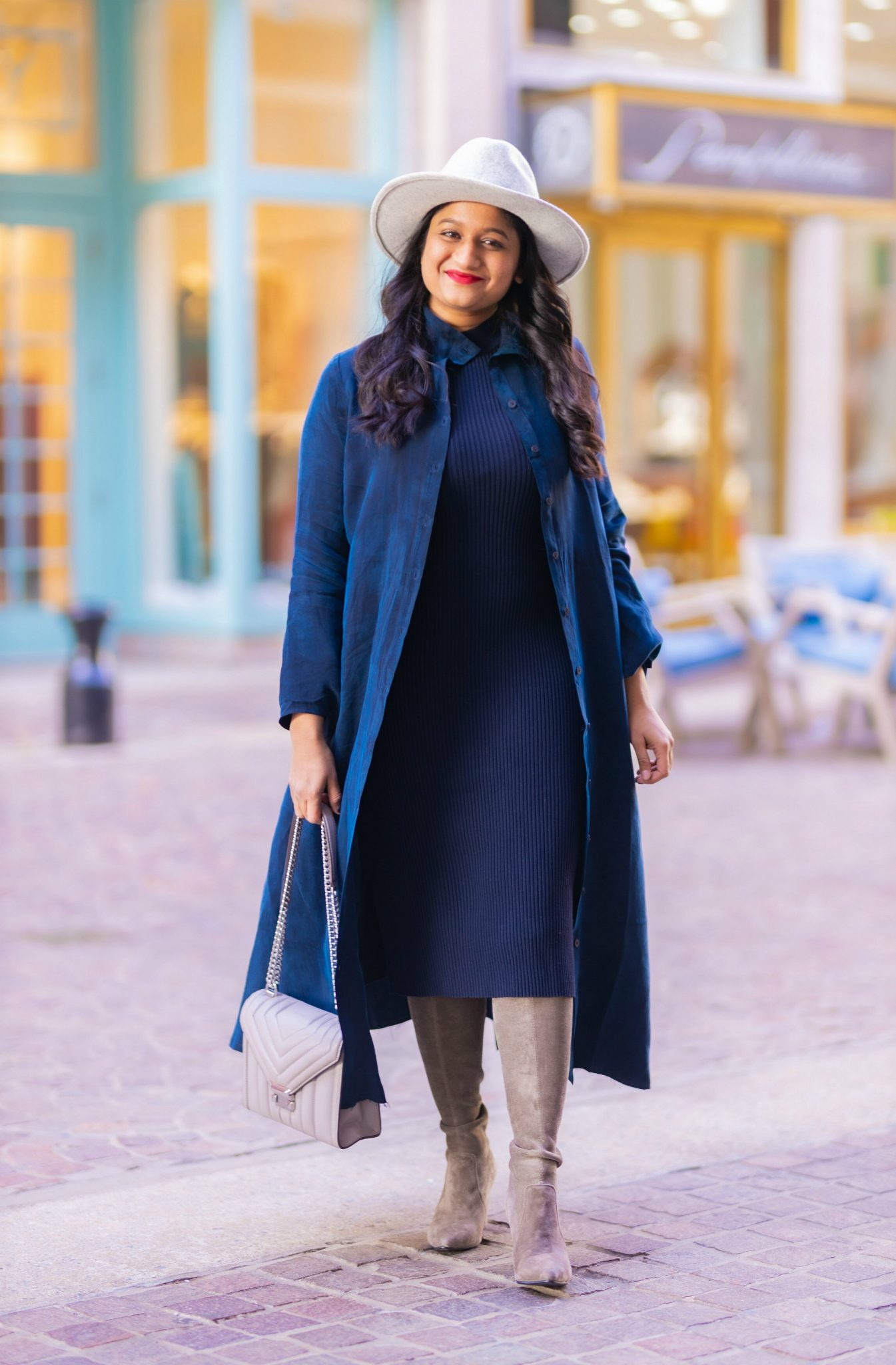 How to Style The Frock NYC Iconic Shirt Dress featured by top US modest fashion blog, Dreaming Loud: image of a woman wearing a shirt dress as a duster-Wearing the NYC frock Iconic shirt dress, amazon fashion lark and ro sweater dress, grey otk boots, lack of color grey fedora hat