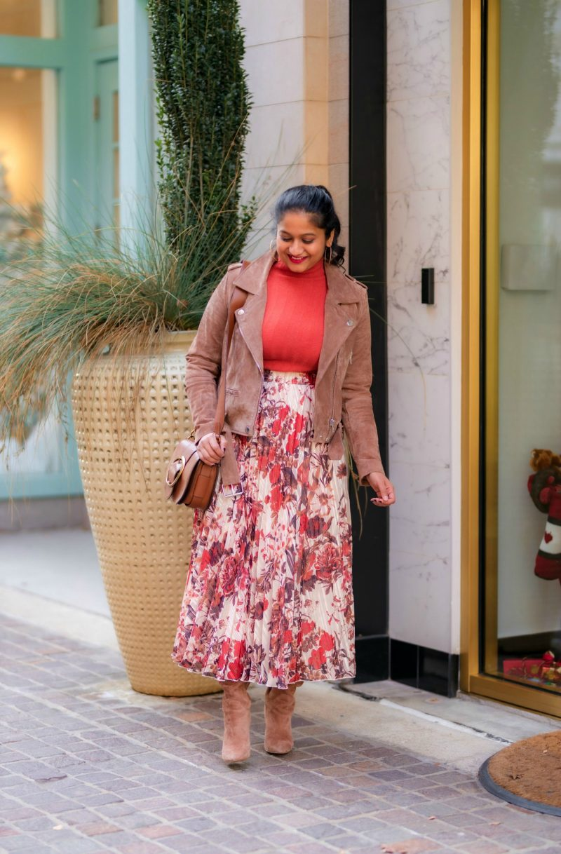 The Importance of Setting Intentions to Achieve your Goals and Resolutions, thoughts featured by top US lifestyle blog, Dreaming Loud: image of a woman wearing hm pleated floral skirt, blank nyc suede moto jacket Sam edelman Francia Stiletto Knee High Boot