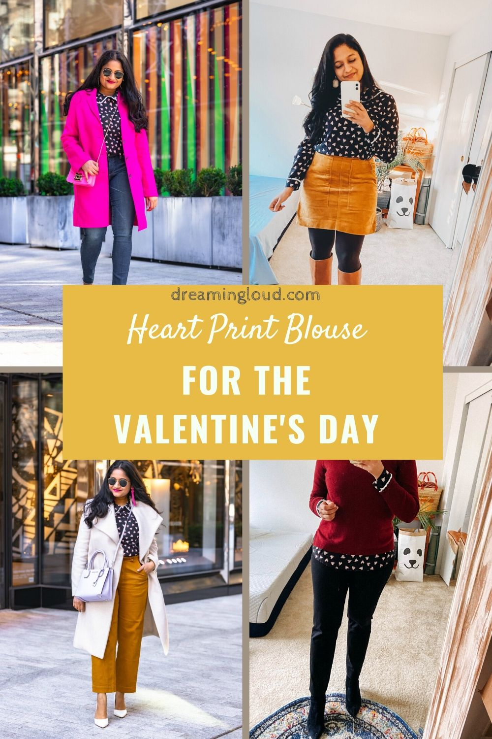 Allegra K Heart Print Blouse styled for for Valentine's Day by top US modest fashion blog, Dreaming Loud