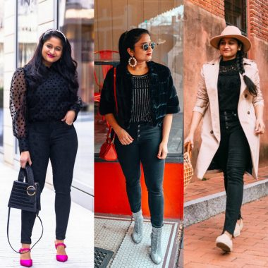 How to wear an all black outfit in the Spring, fashion tips featured by top US modest fashion blog, Dreaming Loud: image of a woman wearing a Mango Puffed sleeve shirt, Joes jeans high rise snake print jeans, hot pink heels, Olive and Piper pearl headband