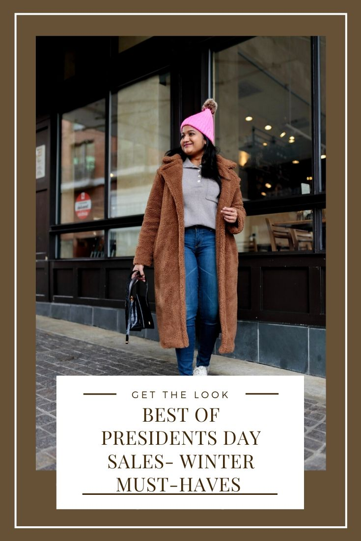 Best of Presidents Day Clothing Sale (Winter Must-Haves) | Best Presidents Sales by popular US modest fashion blog, Dreaming Loud: image of a woman wearing a BB Dakota Paddington Teddy Coat, Everlane The ReCashmere Button Mockneck, AG Legging Jeans in 10 Years Defined, Reebok NPC UK COTTON AND CORN SHOES, Parisa Wang Enchanted Leather Belt Bag, and Free People Game Changer Beanie.