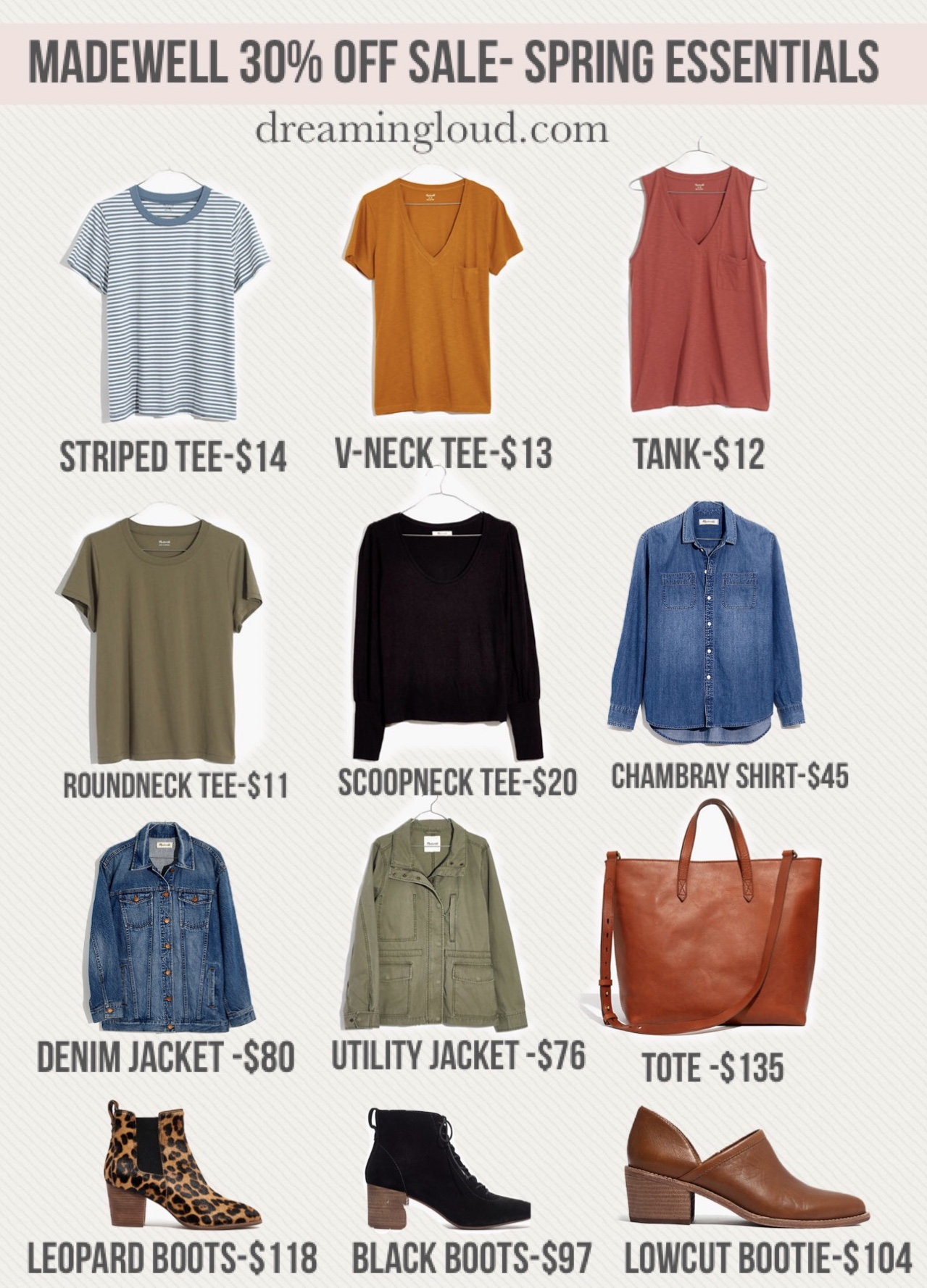 Madewell Spring Essentials on 30% off Sale by top us fashion blogger dreaming loud | Madewell Spring 2020 by popular modest fashion blog, Dreaming Loud: collage image of Madewell tees, Madewell denim, Madewelll totes, and Madewell boots.