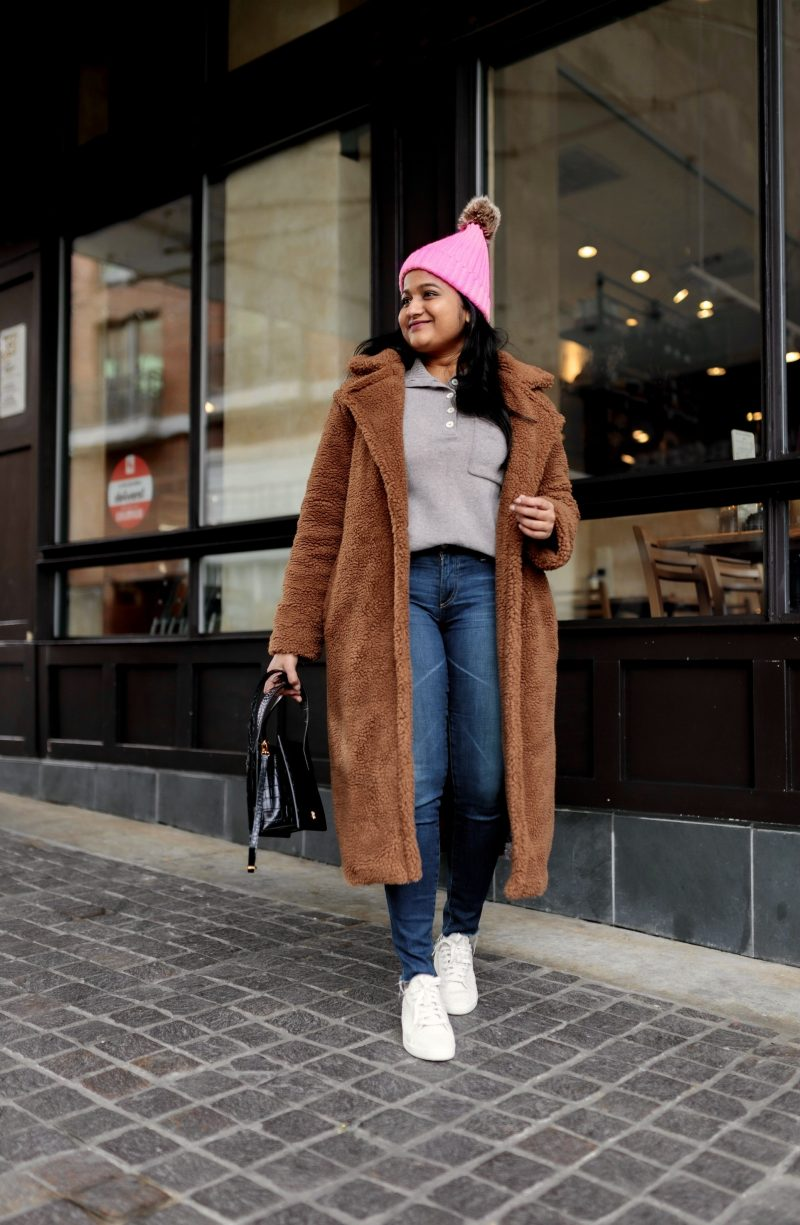 Best Presidents Day Sales featured by top US modest fashion blog, Dreaming Loud: image of a woman wearing BB DakotaBB Dakota Paddington Teddy Coat_ AG Farrah Ankle skinny jeans,Reebok NPC UK COTTON AND CORN SHOES,everlane The ReCashmere Button Mockneck,Parisa Wang Enchanted Leather Bag