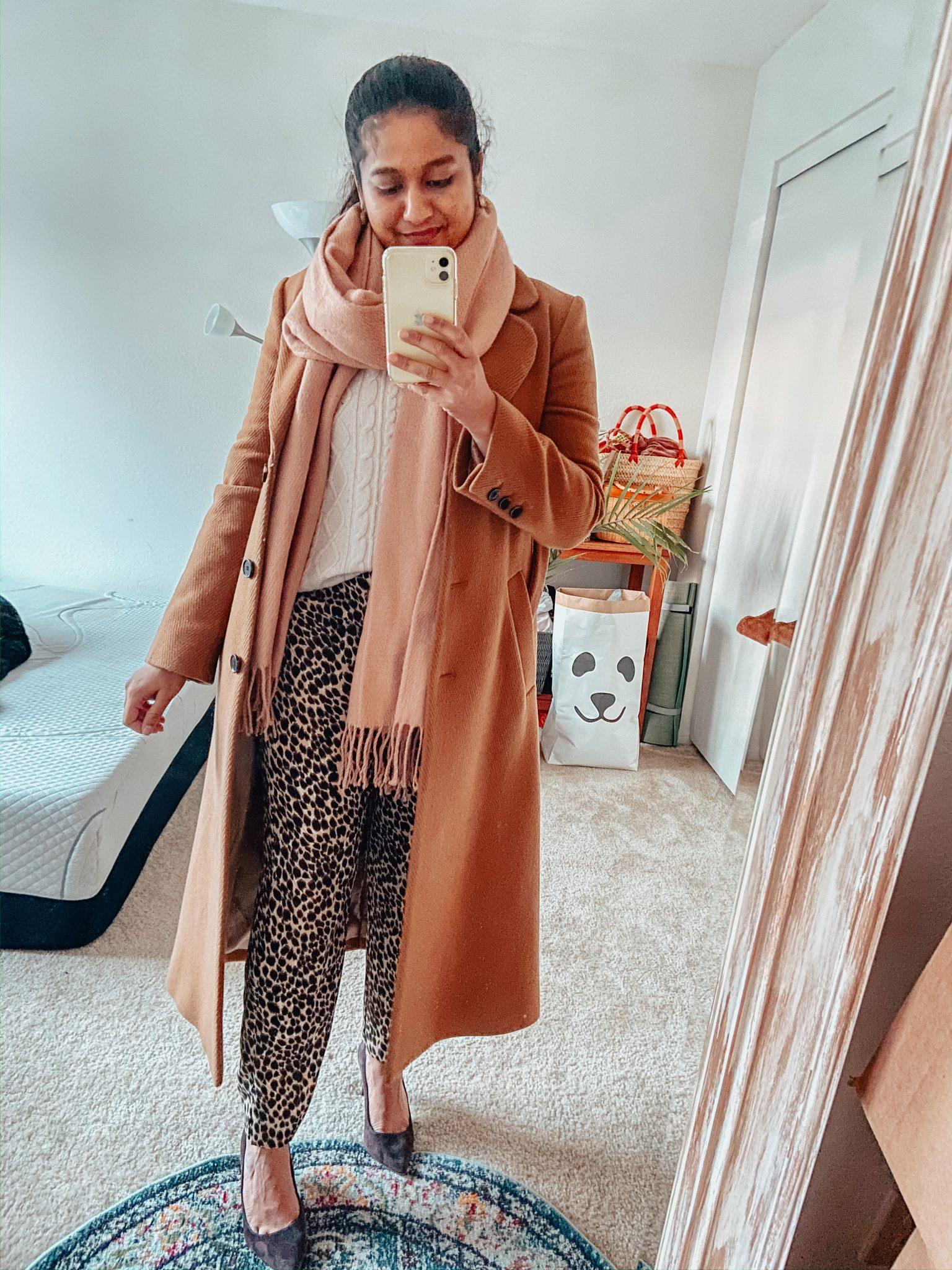 Camel Coat Outfits for Work styled by top US modest fashion blog, Dreaming Loud: image of a woman Wearing J.crew factory Leopard print Jamie pant, white cable knit sweater, Banana republic madison 12 hour pumps, blush cardigan , and other storiesA-Line Wool Blend Belted Coat 5