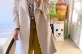 Wearing Lou and Grey Cosmic Joggers in yellow, Loft floral blouse, Mango beige wrap coat, Everlane The Editor Heel in pink