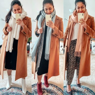 Camel Coat Outfits for Work styled by top US modest fashion blog, Dreaming Loud: image of a woman wearing other stories A-line camel coat, 3 Camel Coat with Scarf Outfits