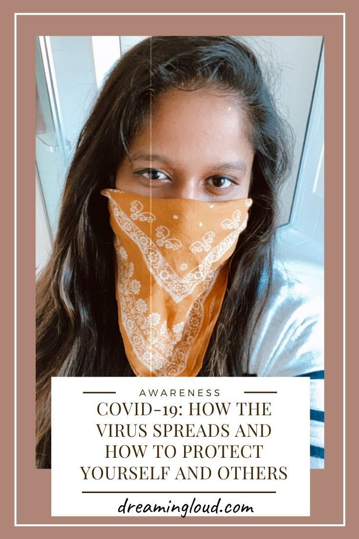 COVID-19: How the VIRUS SPREADS and How to PROTECT YOURSELF AND OTHERS featured by top US fashion blog, Dreaming Loud picture of a women | Covid 19 survival tips and tricks by popular Maryland lifestyle blog, Dreaming Loud: image of a woman with and orange bandana tied around her face.