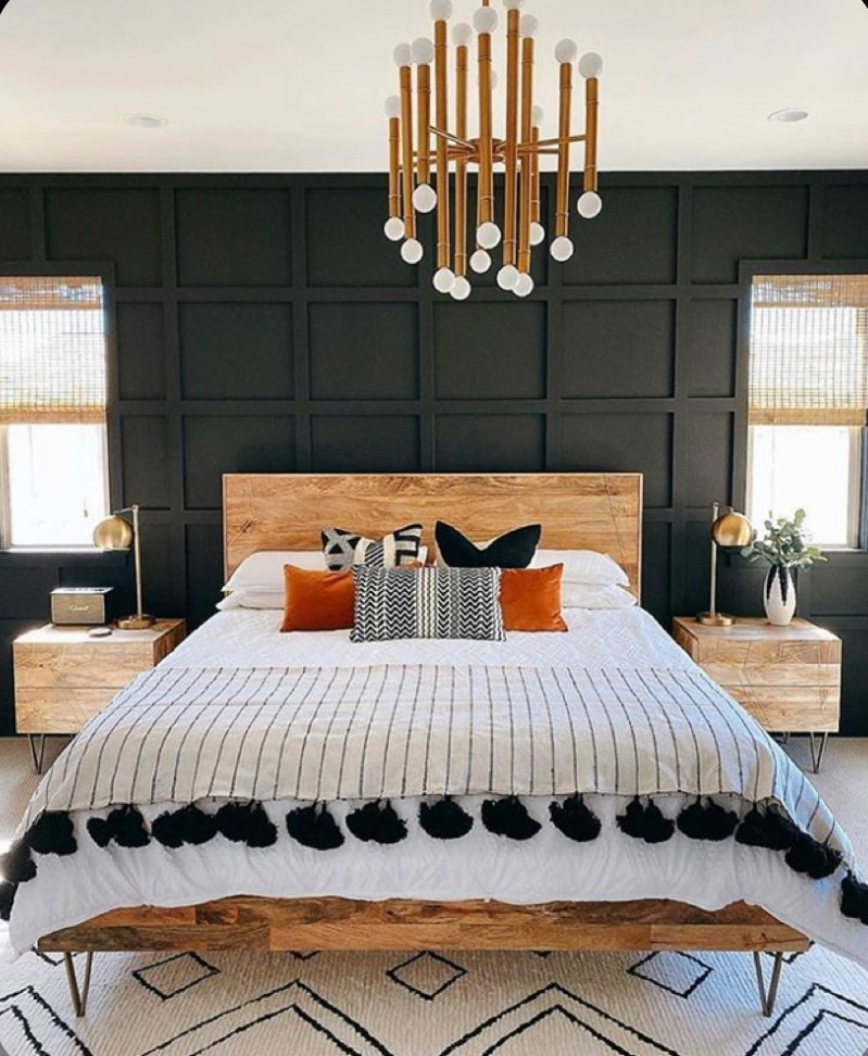 12 Dark Bedroom Ideas for a Cozy and Dramatic Look featured by top US lifestyle blog, Dreaming Loud: Charcoal grey Bedroom idea | Dark Bedroom Ideas by popular Michigan lifestyle blog, Dreaming Loud: image of a bedroom with a charcoal grey grid wall.
