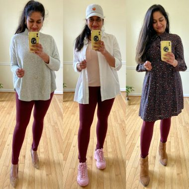 How to wear Burgundy leggings al through the year (practical outfit ideas) featured by top US lifestyle blog, Dreaming Loud